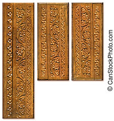 Wood Carving Pattern Design Elements scanned in high...