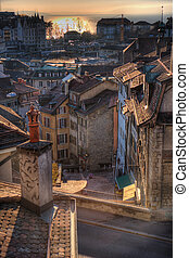 Roofs at sunset - Roofs of Lausanne, Switzerland, in the...