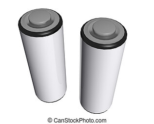 3d AA Batterys Isolated - A 3d render of two AA batterys...