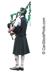 Christmas Piper - A piper with his pipes decorated for the...