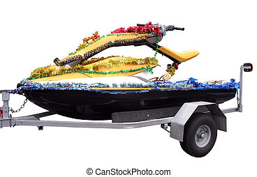 Christmas Jetski - A Jetski decorated for christmas Isolated...