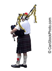 Piper Santa - A piper in the decorated for the festive...