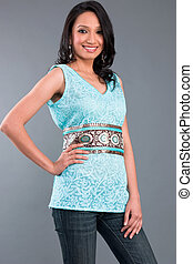 Indian Embroidered Womens Apparel - A model wearing a tunic...