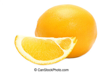 orange and orange segment - object on white - food -fruit...