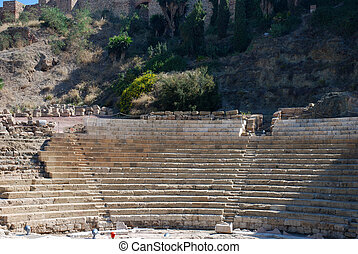 Roman Ruin - Ruin of a Roman amphitheater in Malaga, Spain