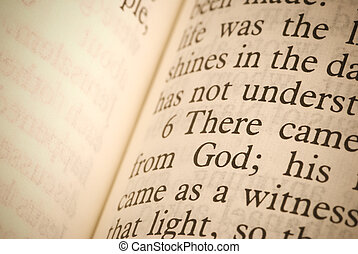 Bible text - special sepia toned, focus point on ( God )
