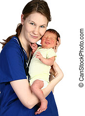 Baby Newborn and Nurse - Beautiful young nurse holding a...