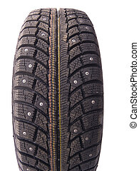 Winter tyre with thorns on white background