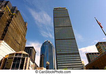 copley - dramatic wide angle image of bostons copley square...