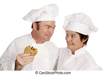 Chef Loves Cookie - A male and female chef. He\\\'s praising...