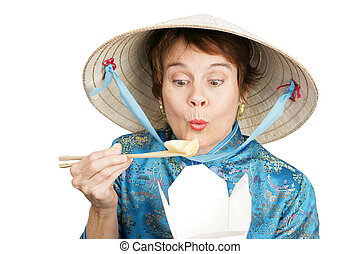 Chinatown Tourist Eats Takout - Tourist in Chinese clothing...