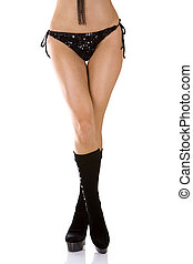 sexy boots - pretty legs wearing black boots on white...
