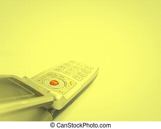 Cell phone isolated on yellow
