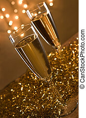 Two champagne flutes - Two champagne flutes, defocused...