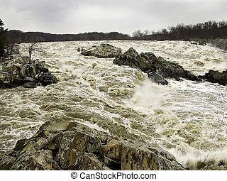 Great Falls in Flood - Potomac River in flood at Great Falls...