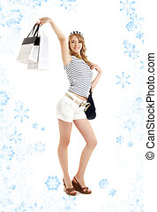 blond with shopping bags and snowflakes#2