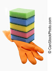 Rubber glove with sponges on bright background