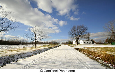 Winter Drive - Wide angle shot of rural road during winter...