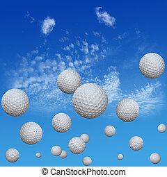 Golf Balls set in High Cloud Sky - A group of golf balls...