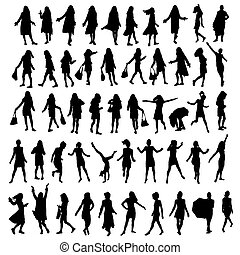 woman posture - 50 different highly detailed silhouettes of...