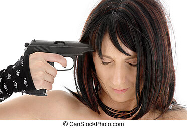 suicide - brunette girl pointing gun at her head