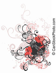 Grungy flowers - Grungy illustration of a floral background