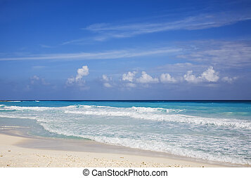 Mexico - The turquoise waters and white sand beaches of...