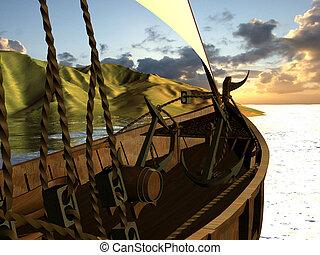 sailing ship - Computer image, sailing ship 3D and sea