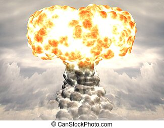 Nuke - Computer image, Nuke 3D, explosion and clouds