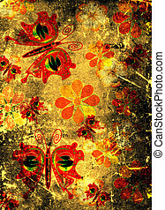 butterflies and flowers on grunge scraped paper
