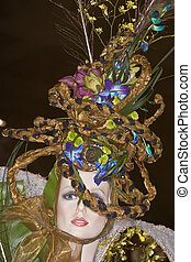 Flower hat - manequin wearing hat, decorated with flowers