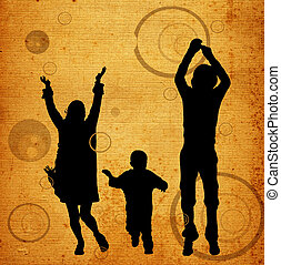 urban scene - illustration of an urban scene with a family...