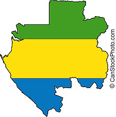 Map Gabon - Map and Flag from Gabon