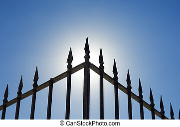 Iron railing - Edge of an old spiked iron railing against...