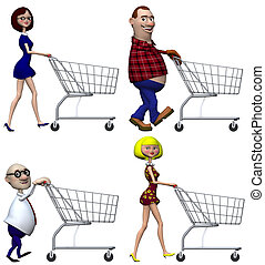 Cartoon Shoppers Shopping Cart - Happy smiling cartoon...