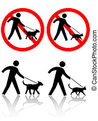 Persons Walk Dog Cat Pet Animals - Persons walk pet dog, cat...