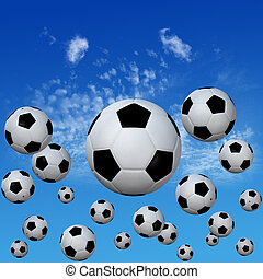 Soccer footballs set in High Cloud Sky - A group of soccer...
