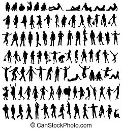 100 silhouettes - one hundred male and female silhouettes