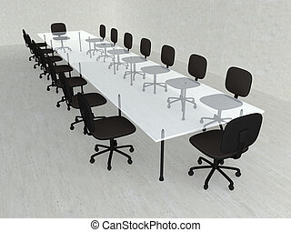 Concrete Meeting room - 3D rendered Boardroom. Concrete...
