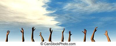 Hands up - 3D Illustration.