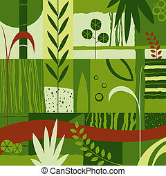 decorative design with plants - abstract decorative design;...