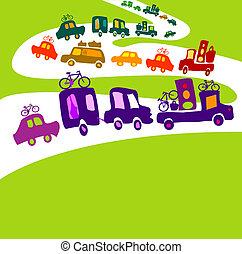 caravan - cars caravan, chain of cars on a road