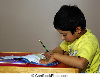 Homework - An handsome Indian kid diligently doing his...