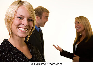 Business meeting - Smiling attractive business woman in...