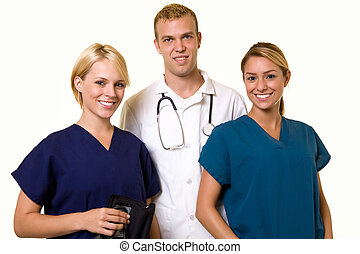 Medical team - Two woman healthcare workers with one male in...
