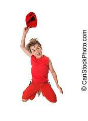 Spiritied Happy Boy Jumping - Woo Hoo A jubilant...
