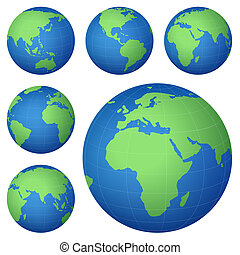 planet map - planet earth map from six views; illustration