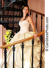 Beautiful bride - The beautiful bride on a pig-iron ladder