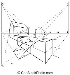 geometrical drawing with a simple perspective object