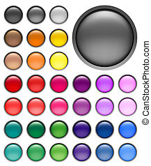 web buttons - round web buttons with different shiny colors